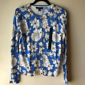 Preppy Blue & White Floral Cardigan: Small NEW